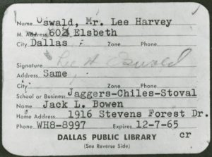 Lee Harvey Oswald Dallas Library card